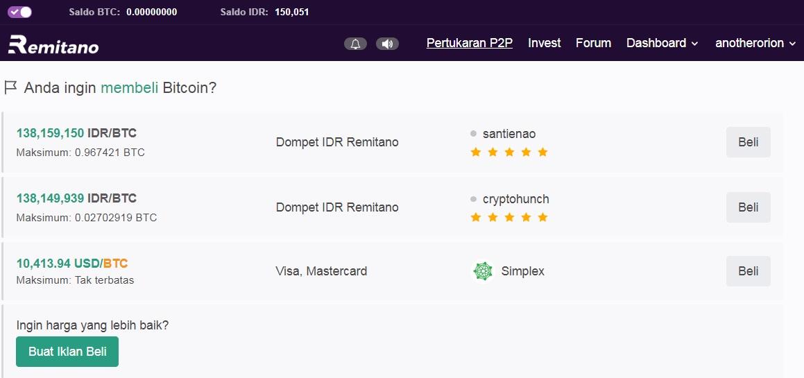 transaksi aset kripto dengan mata uang rupiah di Remitano